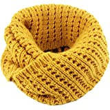 Thick Knitted Winter Warn Solid Color Infinity Scarf (Yellow)