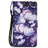 Sony Xperia Z3 Hülle, Hozor Handy Schale Kratzfeste 3D PU Leder Flip Case Wallet Cover Bunt Gemalt Muster Schutzhülle mit Kreditkarte Ständer Book Style Handytasche - Lila Schmetterling