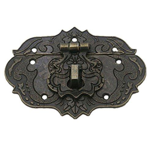 SODIAL(R) Holzetui Brust Tool Box 77mm x 57mm Verschluss Haspe Bronze