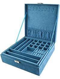 "Bantoye Double-Layer Jewelry Box Suede Lint Square Display Storage Case with Lock Blue 10.4""x10.4""x3.4"""