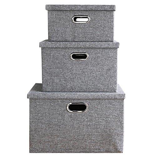 faltboxen stoff Fyore Stapelbar Faltbar Aufbewahrungsbox mit Deckel Griff Fingerloch Schwerlast Korb Stoff Faltbox Set of 3pcs (Grau Set)