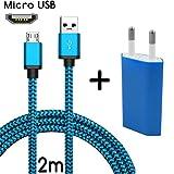 TheSmartGuard Micro-USB Ladegerät / 2in1 Ladeset / Micro-USB-Ladekabel mit Netzteil / Netzstecker für für Android Smartphones, Samsung Galaxy S7 / S7 Edge / S6 / S5 / S4 / S3, Note 5 / 4 / 3, HTC, Huawei, Sony, Nexus, Nokia, Kindle und viele mehr | Nylon | Blau | 2 Meter / 2m