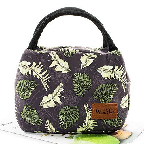 Winmax Isolierte Lunchtasche für Erwachsene, Kinder, Damen, Herren, Lunchboxen, Picknick-Taschen, Lunchbox, Bento-Box, für Camping, Reisen Green Leaves