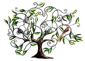arbre de vie d corative en fer forg d coration murale avec 3 oiseaux 84 mother 39 s x 122 cm. Black Bedroom Furniture Sets. Home Design Ideas