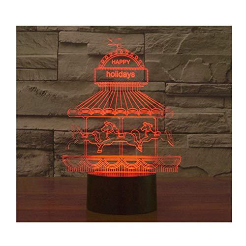 3D LED Night Light Carrousel Merry-Go-Round Parque de atracciones con 7 colores de luz para la decoración del hogar lámpara increíble visualización