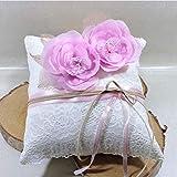 Porte alliances rose ivoire coussin mariage champêtre bohême