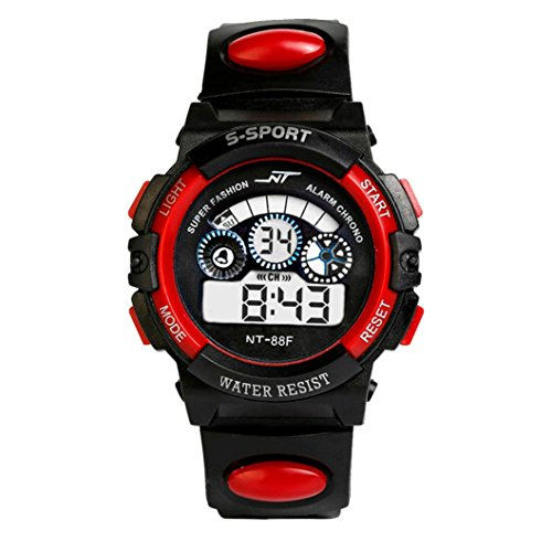 Uhr Herren Uhren Herrenuhr Sportuhr armbanduhr herren DAY.LIN Wasserdicht Herren Jungen Digital LED Quarz Alarm Datum Sport-Armbanduhr (Rot)