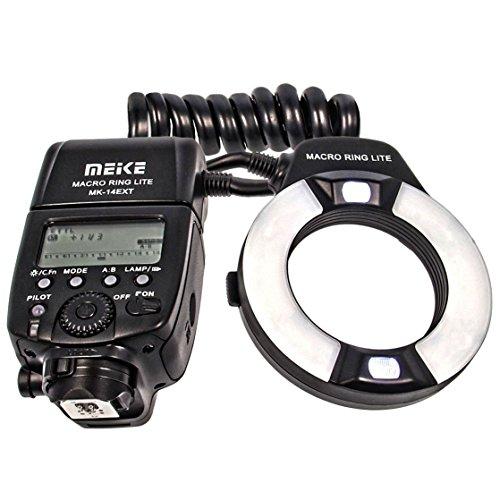 TTL Makro Ringblitz (Leitzahl 14-46) fuer alle Canon DSLR Kameras mit Blitzschuh (fuer Objektive von 52mm – 77mm) - Meike MK-14EXT