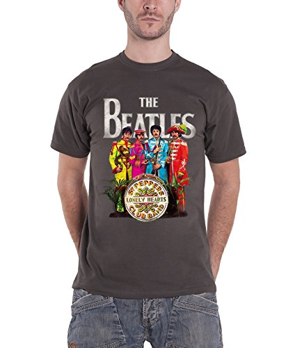 The Beatles Sgt Pepper Lonely Hearts Logo Official Mens New Grey T Shirt