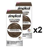 Simplicol Textilfarbe Intensiv (18 Farben), Espresso-Braun 1816 2er Pack: Einfaches Textilfärben in der Waschmaschine, Komplettpackung mit Färbemittel und Fixierpulver