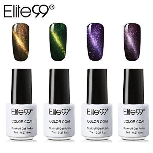 Elite99 Vernis à Ongles Semi Permanent Vernis à Ongles 4pcs Kit de Manucure-Effet de chat d'oeil 7ml Nail Gel pour Ongles 004