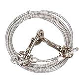 Merssavo Starke Hund Tie-Out-Kabel, Tragbare Dauerhafte Hund Metall Stahldraht Kette Leine Hundehalsband Strap,2#