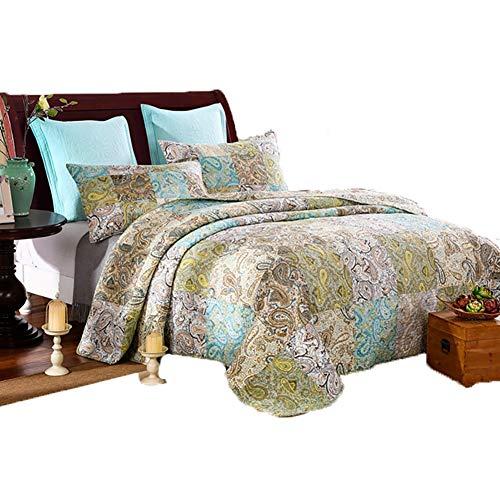 Bling Blumenmuster Quilt Bettwäsche Set-braun, Jacquard Damast-3 Stück Bettwäsche Quilt Bettdecken-Hand Seide Bettdecken Gesteppte Bettdecke -