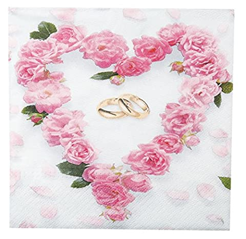 1 Päckchen Hochzeit Servietten Rose Tisch Deko + Taschentücher