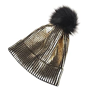 51A2cGu3hsL. SS300  - Tinksky Womens Beanie Hats Knitted Winter Hats with Fur Pom Pom Hats Cap Metallic Shiny Beanie for Women Girl Christmas Party Hats(Gold)