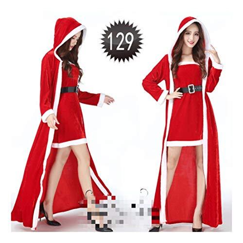SDLRYF Weihnachtsmann Kostüm Weihnachten Kostüme Santa Claus Der Kleidung Der Erwachsenen Frauen Dress Up Show Performance Kostüme (Geeignet Für 45-55 Kg)