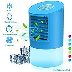 Climatiseur Mobile Portable - Refroidisseur d'air, Personnel Mini Air Refroidisseur Humidificateur 3 Vitesses | 2/4h Timer | 7 Couleurs