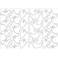 Halloween Ghosts Assorted Stickers 2 x A5 Sticky Back Self Adhesive Decoration Ghosts White