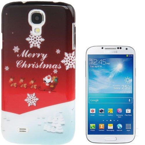 Schutzhülle Case Weihnachten / Xmas Christmas für Samsung Galaxy S4 SIV (i9500) rot mit Weihnachtsschlitten und Rentieren [mm00789]