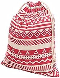 S , Red : Culater® National Wind Stripes Drawstring Beam Port Storage Bag Travel Bag Gift Bag (S, Red)