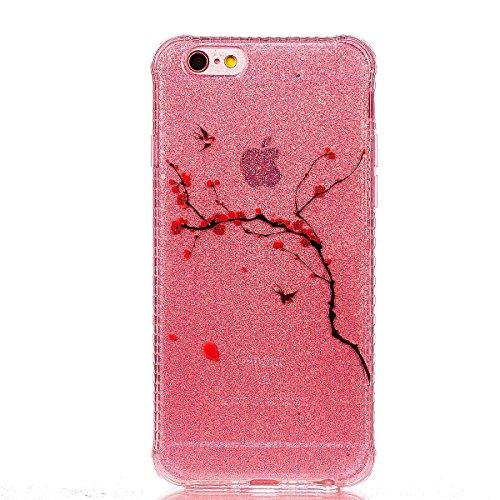 CaseHome iPhone 6 Plus/6S Plus 5.5'' Weich Hülle Gummi Stoßfestes Skidproof Ultra dünn TPU Silikongel Profect Schutz (Mit Freiem HD Schirmschutz) Für Apple iPhone 6 Plus/6S Plus 5.5'' Hülle Shell Stil Peach Zweige