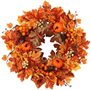 KESYOO Artificial Maple Leaf Wreath Thanksgiving Autumn Fall Harvest Wreath with Pumpkin Front Door Decoration