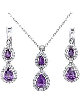 Citerna Damen-Schmuck-Set Halskette und Ohrringe 925 Sterlingsilber Amethyst Tropfenform Zirkonia 46cm