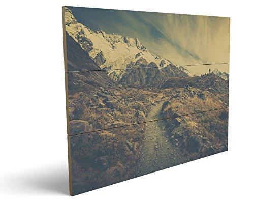 On The Mountains, qualitatives MDF-Holzbild im Drei-Brett-Design mit hochwertigem und ökologischem UV-Druck Format: 100x70cm, hervorragend als Wanddekoration für Ihr Büro oder Zimmer, ein Hingucker, kein Leinwand-Bild oder Gemälde