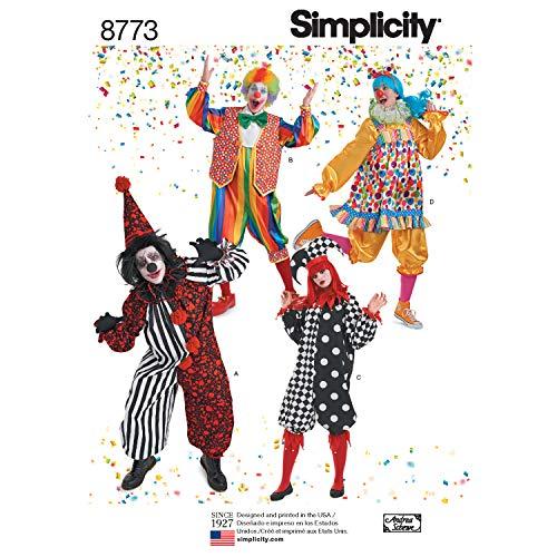 Simplicity Schnittmuster H0193 / 8773 - Clown-Kostüme für Damen, Herren und Jugendliche, A - Clown Kostüm Für Jugendliche