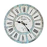 Wanduhr - Cafe Garde - Holz Küchenuhr mit großem Ziffernblatt aus MDF, Retro Uhr im angesagtem Shabby Chic Design mit leisem Quarz-Uhrwerk, Ø: 32 cm