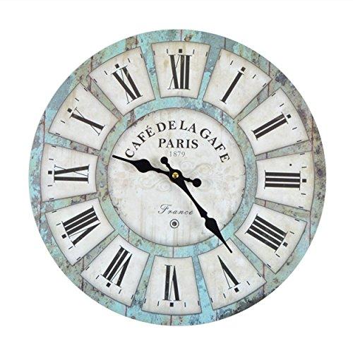 Vevendo Wanduhr - Cafe Garde - Holz Küchenuhr mit großem Ziffernblatt aus MDF, Retro Uhr im angesagtem Shabby Chic Design mit leisem Quarz-Uhrwerk, Ø: 32 cm