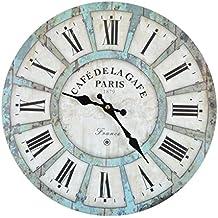 Reloj de pared - Cafe Garde - reloj de cocina de madera con esfera grande de MDF, reloj retro en diseño de moda Shabby Chic con mecansimo de quarzo silencioso, Ø: 32 cm