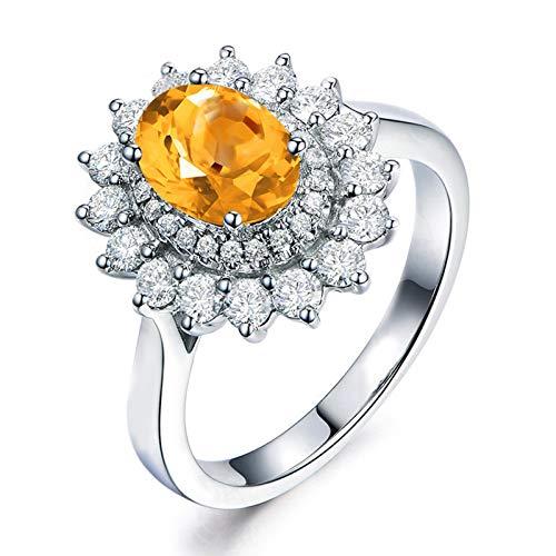 Bishilin 925 Silber Ring Damen Strass Oval Gelb Citrine Verlobungsring Hochzeitsring Silber Größe 62 (19.7)