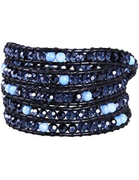 KELITCH Dunkel Blau Kristall &Koralle Handgefertigt Armband Freundschaftsarmbänder Leder Jahrgang Hand Kette