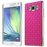 Luxuriöse Klemmhülle Schutzhülle Case Cover Samsung Galaxy A5 / SM-A500F Handytasche Handyhülle Chrom Alu Look Luxus Hardcase deep pink Strass Glitzer Bling