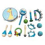 PAMRAY Instrumentos Musicales Infantiles Madera Percusion Juguetes Mini Maracas Castanuelas Traqueteo Preescolar Música Toys Azul