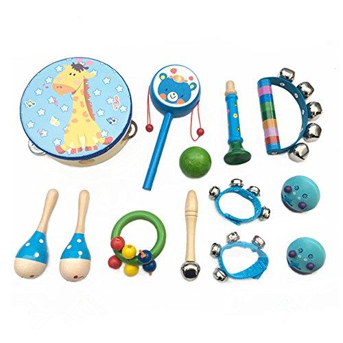 Musikinstrumente Set Kinder Percussion Spielzeuge Holz 13 Pcs Jungen Madchen Mini Schlagzeug Schlagwerk Bunt Maracas Tambourin Rassel Rhythmus Early Education Blau