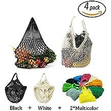 4 Stück wiederverwendbar Mesh Baumwolle Net Markt String Bag Veranstalter (Mehrzweck-, tragbare Einkaufstasche Handtasche), für Einkaufen & Outdoor Verpackung, Aufbewahrung, Obst, Gemüse (Mischfarben zufällig)