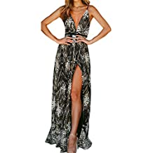 f63653ae4 Conquro-Vestidos Sexy sin Mangas con Cuello en V Vestido de Las señoras  Espalda Abierta