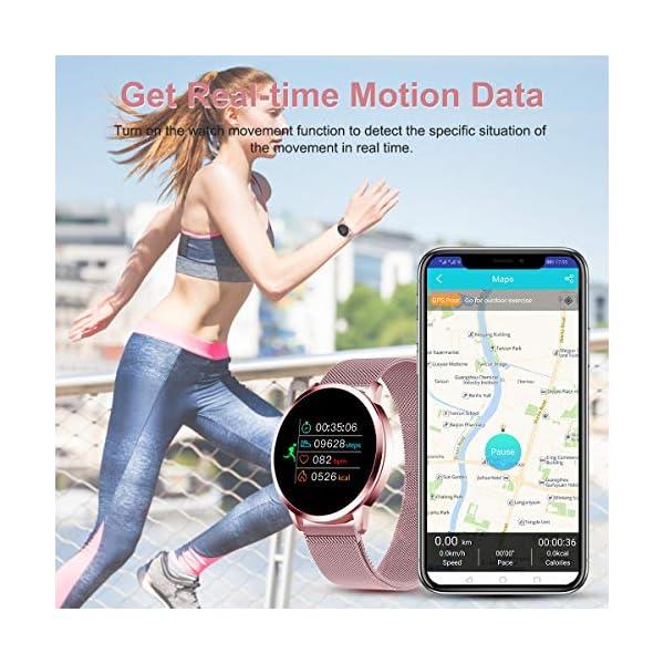 Smartwatch Mujer Rosa Impermeable Reloj Inteligente Elegante Fitness con Monitor Impermeable IP67 con Monitor de Sueño Pulsómetros Podómetro Contador de Caloría Compatible con iOS Android 6