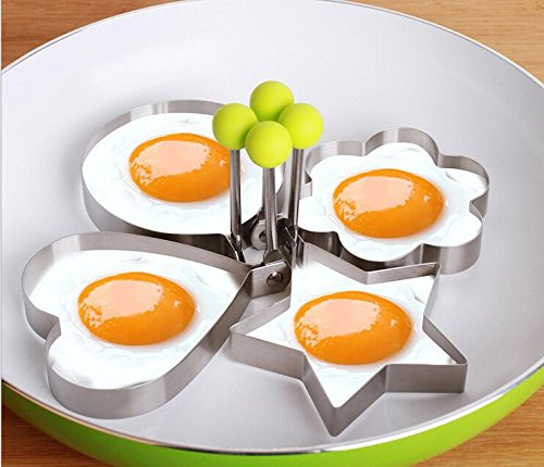 Eiform Eierformer Metall Eierformer Herz Eis Form Ei Former Edelstahl Eiform Herz (Heart-shaped + Flower-förmige) Non-Stick Pancake Kochplatten Omelett Form