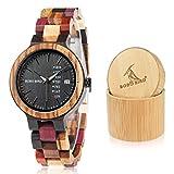 Bobo Bird Damen Holz-Edelstahl Armbanduhr Colorful Week mit Datum- und Tagesanzeige Handgefertigt Quarz Analog Uhr inkl. Geschenkbox