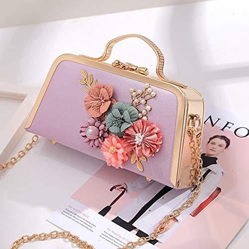 LFGCL Taschen womenFlower Temperament Handtasche süße Dame Tasche Wilde Party Abendessen Tasche, lila
