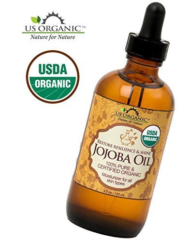 US Organic Jojoba Oil, USDA Certified Organic,100% Pure & Natural, Cold Pressed Virgin, Unrefined, Haxane Free, 4 Ounce in Amber Glass Bottle with Glass Eye Dropper for Easy Application by US Organic