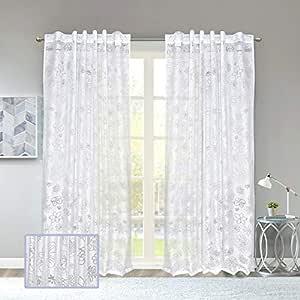 Linenwalas Burn Out Design Sheer Curtain - Black, Blue, Ivory, White (Door - 7 feet, Whitee)
