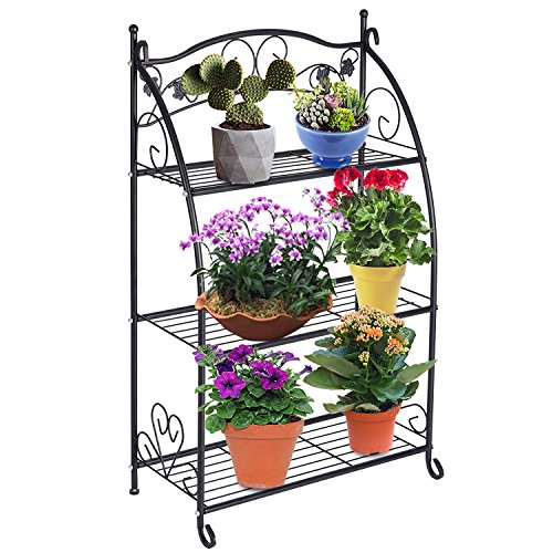 Doeworks 3niveaux en métal pour plantes support de stockage étagère Rack Pot support pour usage intérieur ou extérieur, Noir