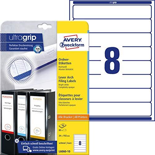 AVERY Zweckform L6060-10 Ordnerrücken Etiketten (mit ultragrip, 34 x 192 mm) auf DIN A4, schmal/kurz, selbstklebend, blickdicht, bedruckbare Ordneretiketten, 80 Rückenschilder auf 10 Blatt) weiß