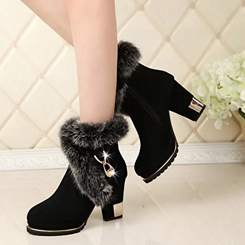 Hsxz Women's Leatherette Chaussures Hiver Printemps Mode Bottes Chunky Bottes Toe Bout Fermé Babbucce / Plume Cheville Bottes Pour Casual Noir