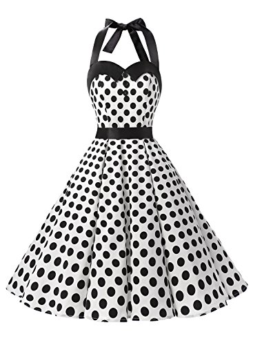 Dressystar Vintage Polka Dot Retro Cocktail Prom Dresses 50's 60's Rockabilly Bandage White Black Dot XS