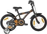 PROMETHEUS Kinderfahrrad 16 Zoll Jungen in Schwarz-Matt & Orange mit Metallic Stützrädern | Seitenzugbremse und Rücktrittbremse | ab 5 Jahren | 16